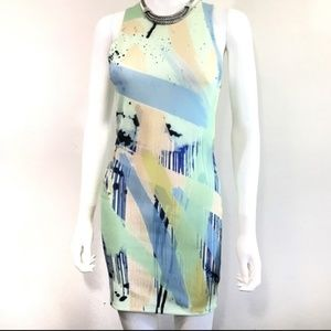 Zara trafaluc watercolor bodycon dress